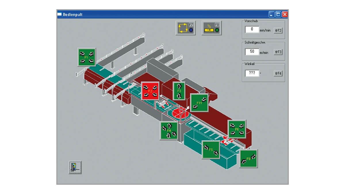 Behringer Eisele Unterflur-Kreissägeautomat PSU 450 A leistungsstarke PC-Steuerung mit NESTING Funktionalität