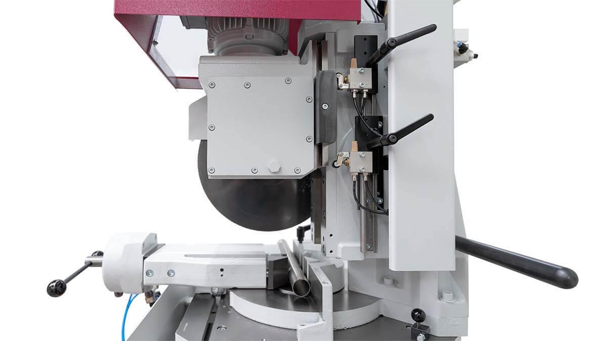 Behringer Eisele Vertikal-Metallkreissäge VMS 350 PV Einstellung des Sägeeintrittspunkts und Sägeaustrittspunkts
