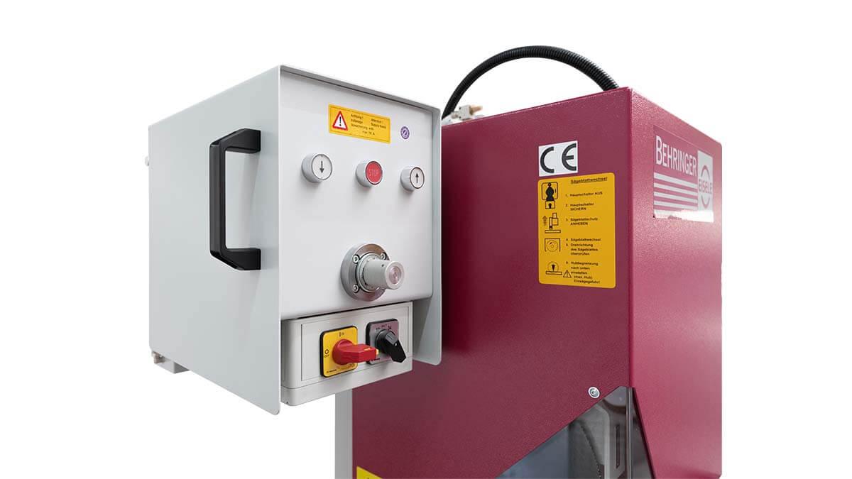 Behringer Eisele Vertikal-Metallkreissäge VMS 350 PV Vorschubeinstellung für den pneumatischen Sägevorschub